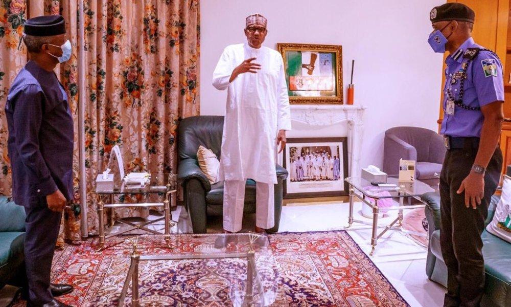 #EndSars: Buhari, Osinbajo Meet With IGP – Here Is What The President Said