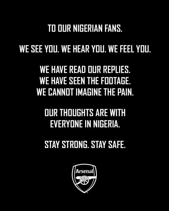 'We Cannot Imagine The Pain' – Arsenal Send Message To Nigerian Fans
