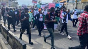 Endsars Protest 1 - #EndSARS Protesters Block Lekki Toll Gate In Lagos