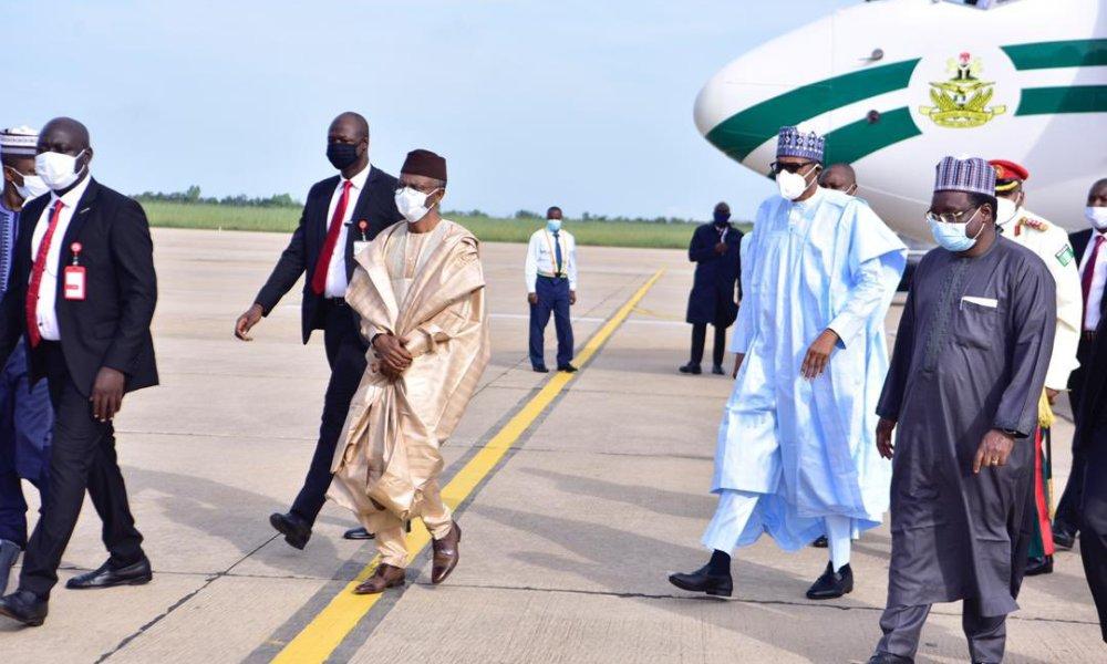 El-Rufai Recieves President Buhari In Kaduna