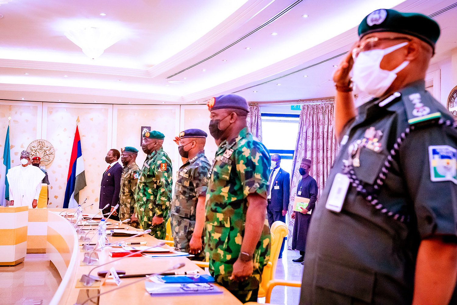 Photos: Buhari Holds Security Meeting After Armed Robbers' Attempted Attack On Aso Rock