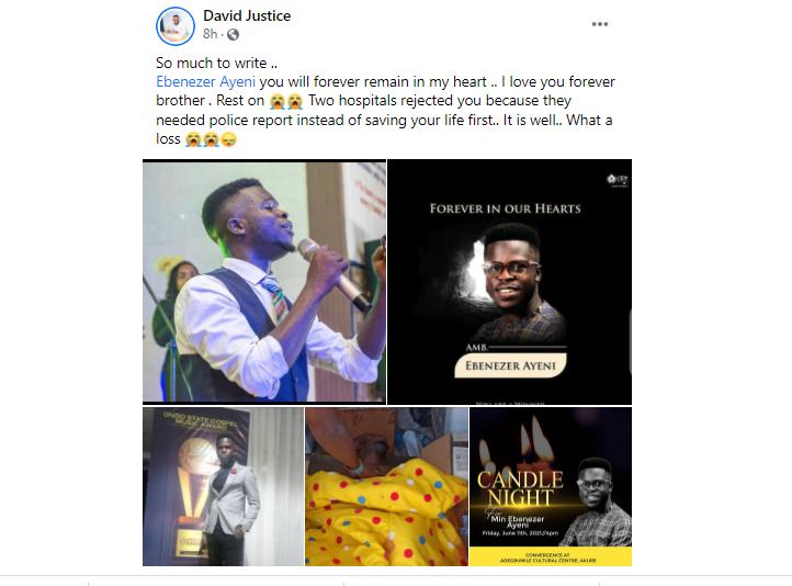 Armed Robbers Kill Gospel Music Producer, Ebenezer Ayeni, A Week To His Wedding