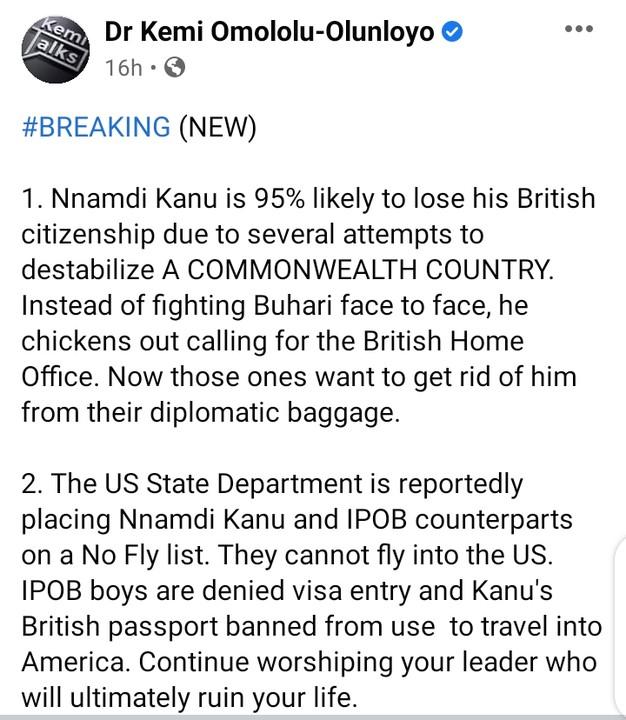 'Nnamdi Kanu To Lose His British Citizenship'