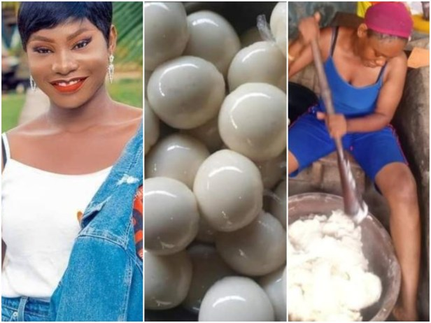 Beautiful Nigerian Graduates Who Sell Fufu Due To Unemployment, Advises Youths