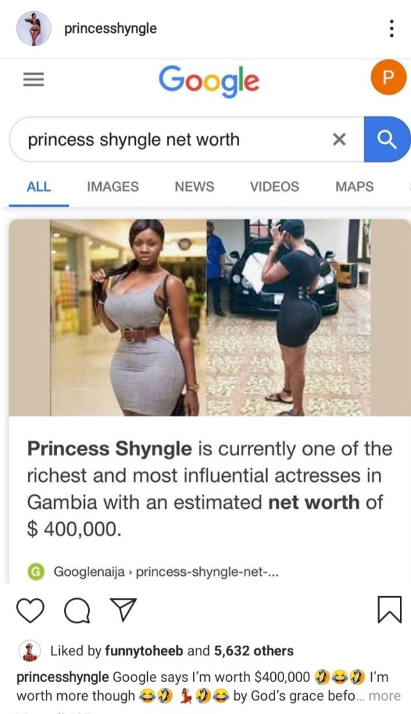 """Even if I fu**** for it it's still work Abeg"" Princess Shyngle reacts as website lists her estimated net worth at $400,000 1"