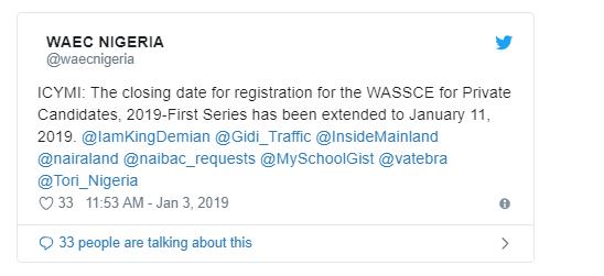 WAEC Extends WASSCE Registration Date To January 11