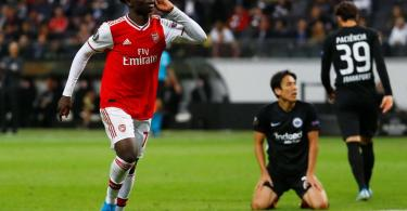 Nigerian winger Saka reacts after scoring 1st Arsenal goal