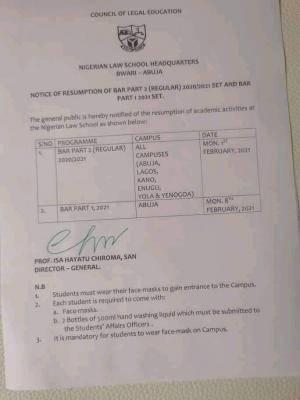 Nigeria Law School notice on resumption