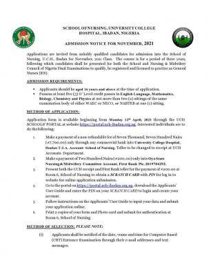 UCH, Ibadan School of Nursing admission form, 2021