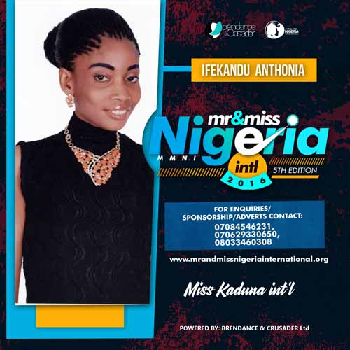 Ifekandu Anthonia, Finalists, Mr And Miss Nigeria International Pageant 2016