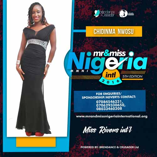 Chidinma Nwosu Mary, Finalists, Mr And Miss Nigeria International Pageant 2016