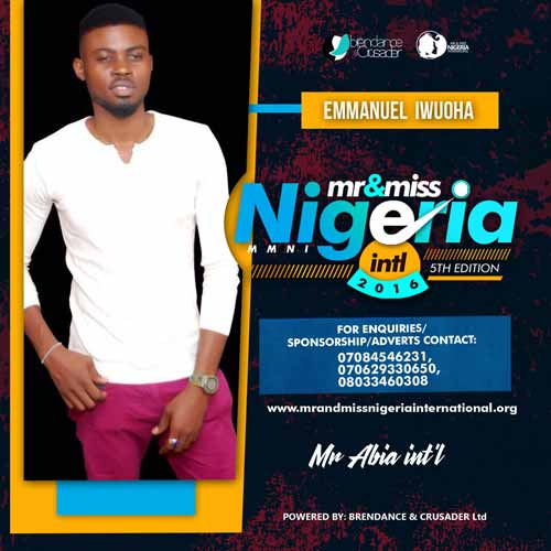 Emmanuel Iwuoha, Finalists, Mr And Miss Nigeria International Pageant 2016
