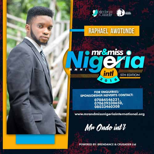 Raphael Awotunde, Finalists, Mr And Miss Nigeria International Pageant 2016