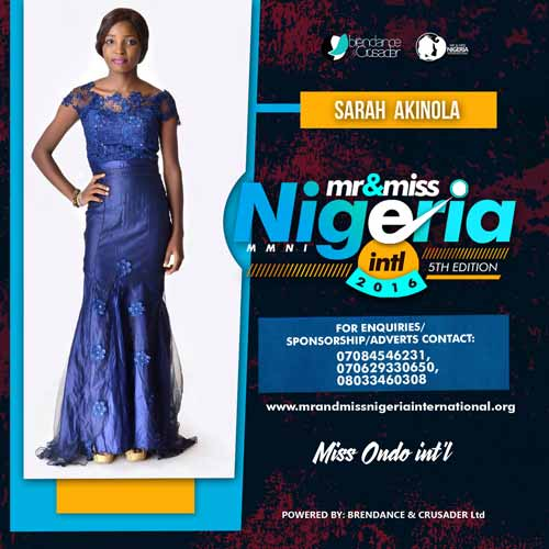 Sarah Akinola, Finalists, Mr And Miss Nigeria International Pageant 2016