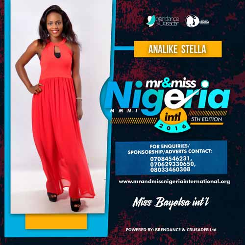 Stella Analike, Finalists, Mr And Miss Nigeria International Pageant 2016