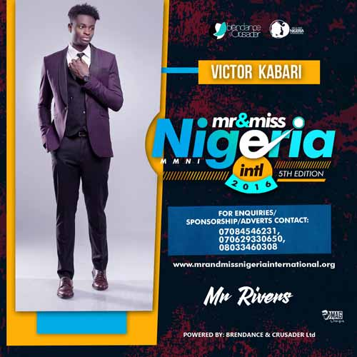 Kabari Victor, Finalists, Mr And Miss Nigeria International Pageant 2016