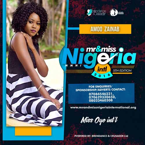 Zainab Amoo, Finalists, Mr And Miss Nigeria International Pageant 2016