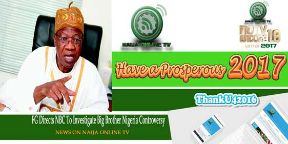 FG Directs NBC To Investigate Big Brother Nigeria Controversy The Minister of Information and Culture, Alhaji Lai Mohammed, has directed the National Broadcasting Commission (NBC) to investigate the circumstances surrounding the reported shooting in South Africa of the ongoing Big Brother Nigeria Reality Show. In a statement in Abuja on Tuesday, the Minister said the NBC should determine whether Multi-Choice, by shooting the show in South Africa, has breached the Nigerian Broadcasting Code in any way, as well as the issue of possible deceit, since the viewing public was never told that the event would be staged outside Nigeria. ''As a country of laws, only the outcome of the investigation will determine our next line of action,'' he said. Alhaji Mohammed said while concerned Nigerians have bombarded his office with calls to complain about what they regard as an anomaly (of shooting outside the country a show meant for Nigerians), they should remain calm while the NBC investigates the issue and submits its findings.