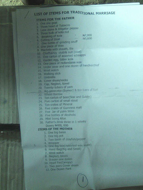 31 - Traditional Marriage List