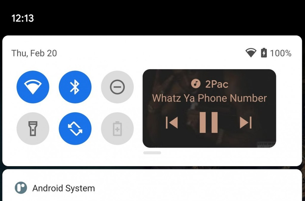 Android 11 Test: Google to put a music player in the quick setting panel 45