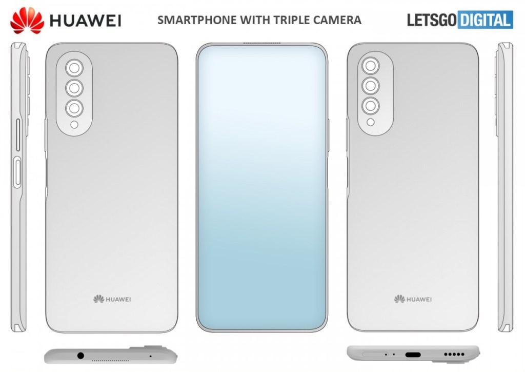 huawei in-display camera phone render