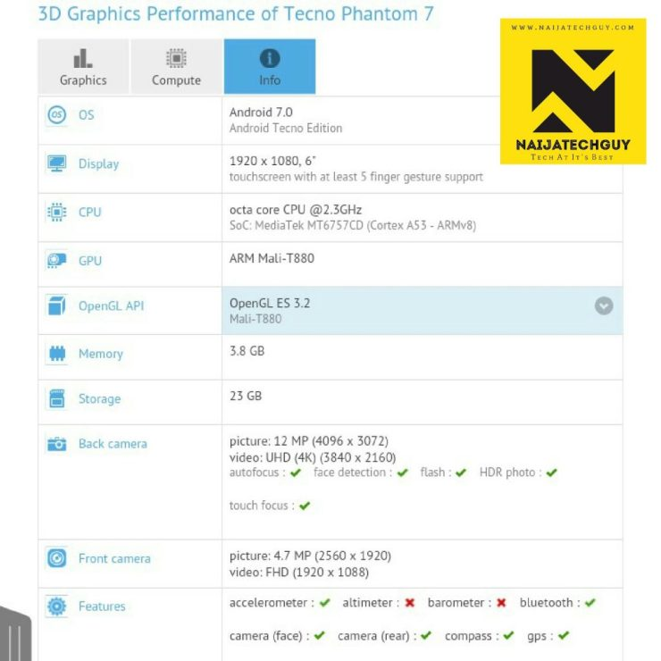 Specifications Of The Tecno Phantom 7 Appear On GFxBench 3