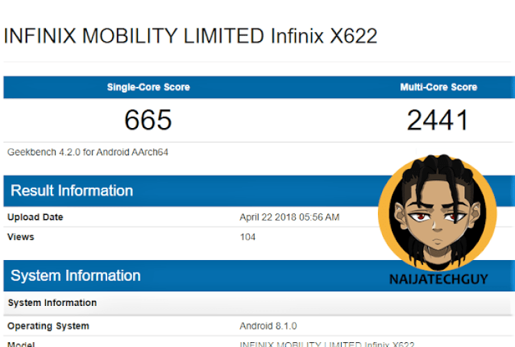Infinix To Launch The Infinix X622 With A Notch - Confirmed Specifications And Possible Price Leaked 4