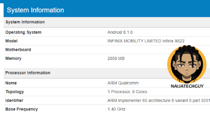 Infinix To Launch The Infinix X622 With A Notch - Confirmed Specifications And Possible Price Leaked 5