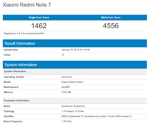 Xiaomi Redmi Note 7, Snapdragon 660 with 6GB Ram Spotted on Geekbench 2