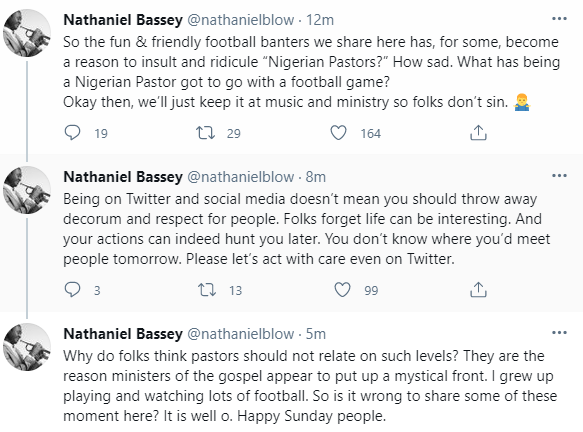 60b3388a7d0f6 - ''Your actions can indeed hunt you later''- Gospel artiste, Nathaniel Bassey, cautions Nigerians in the habit of insulting men of God during football banter