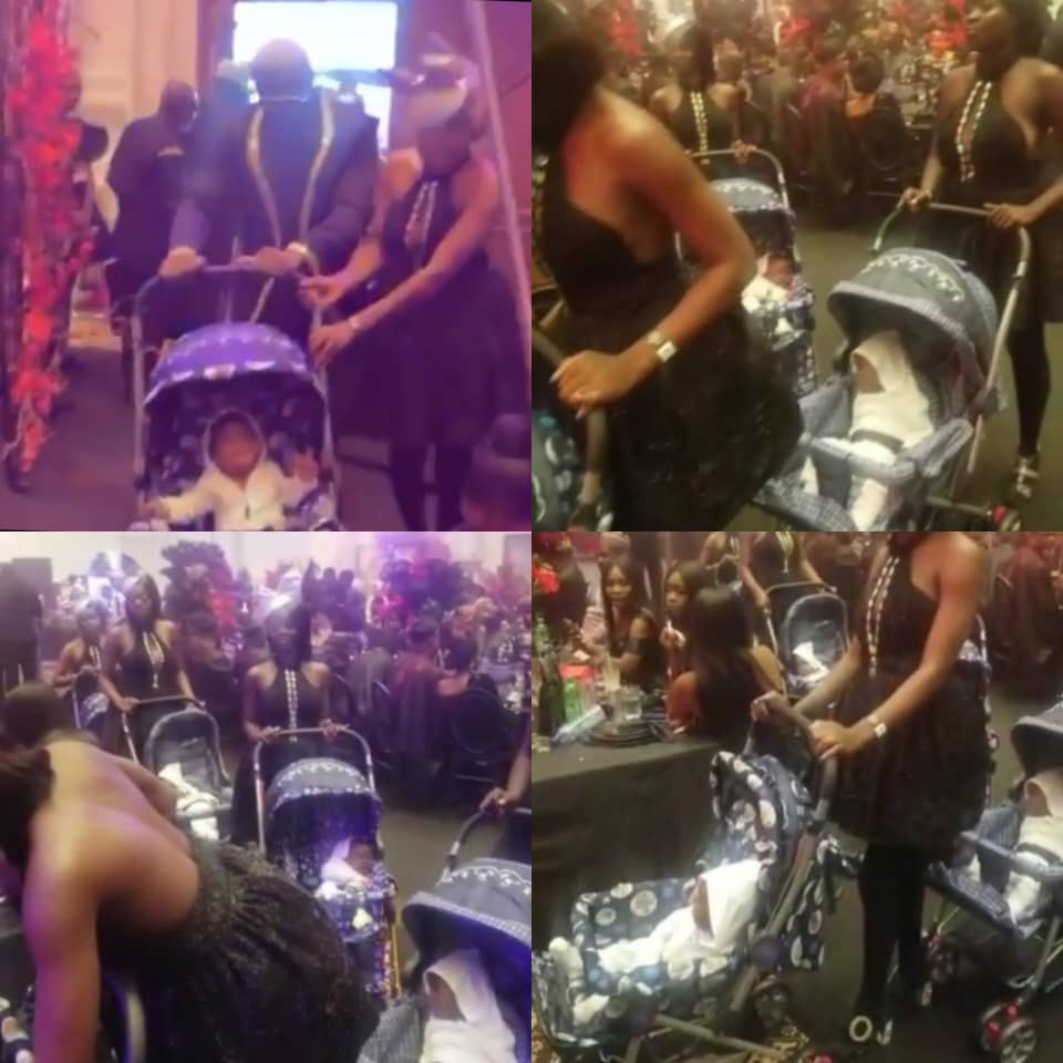 60c5001dc05dc - Socialite, PrettyMike, storms Toyin Lawani's wedding with a number of ladies each pushing a baby in a stroller (video)