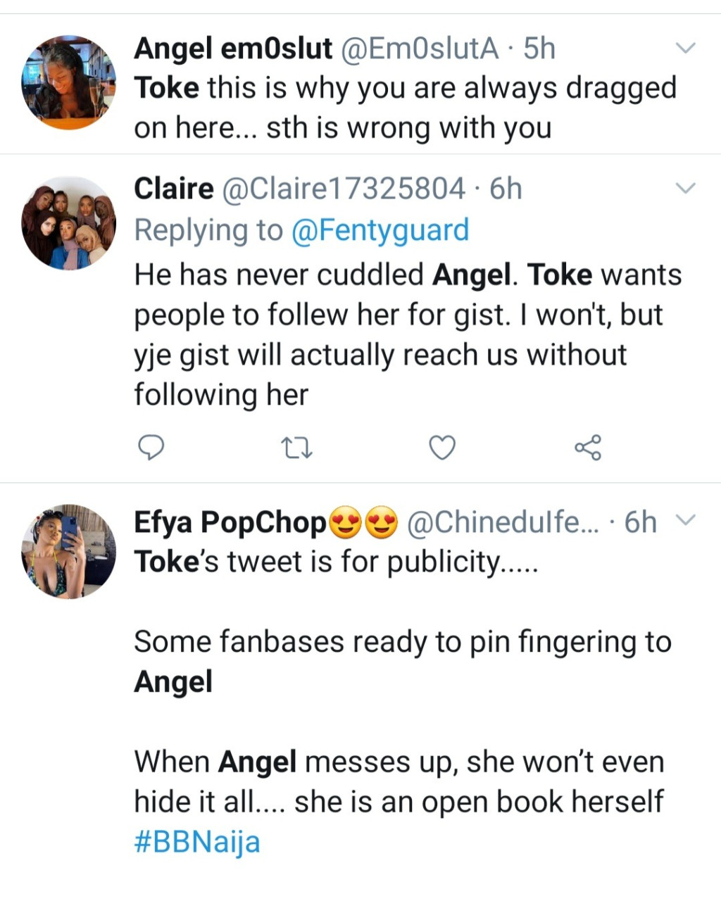 Toke Makinwa called out for her tweet insinuating Michael fingered Angel