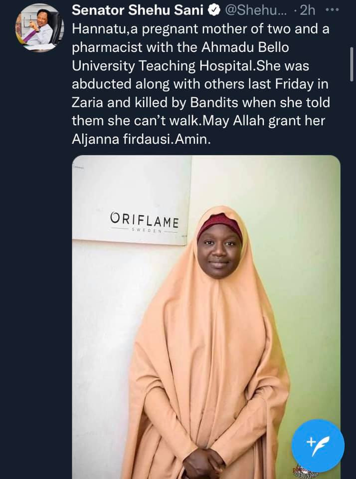 Shehu Sani shares photo of a pregnant Pharmacist he says was shot dead after telling bandits who kidnapped her that she can