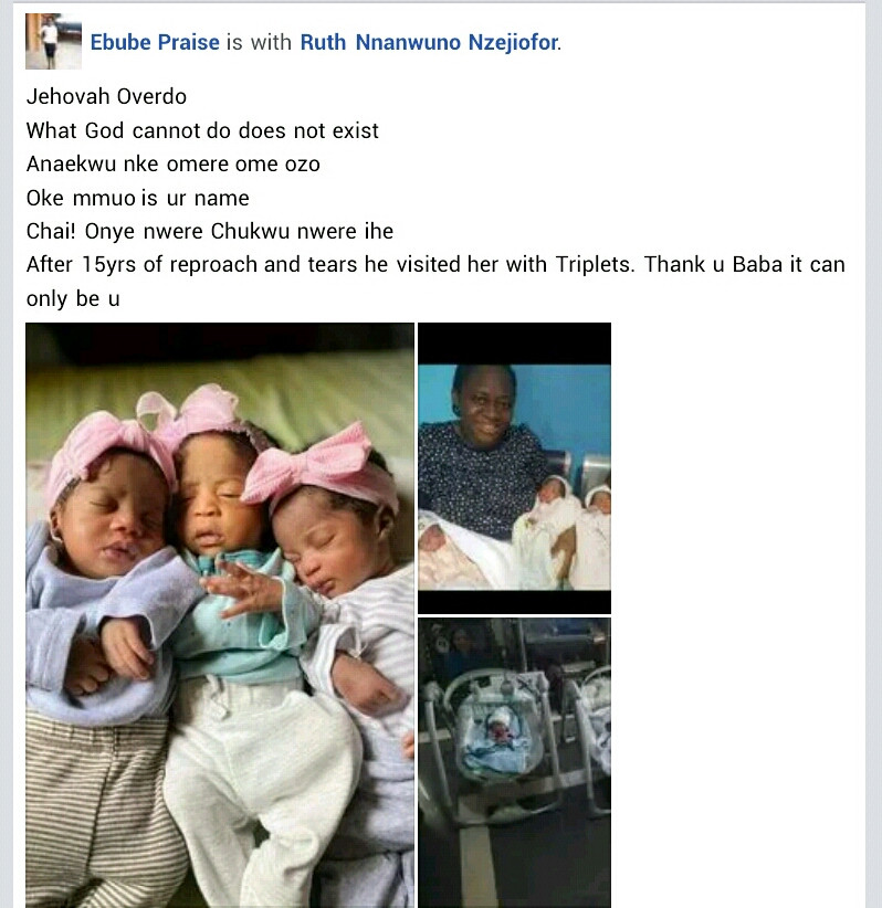 Nigerian woman gives birth to triplets after 15 years of marriage