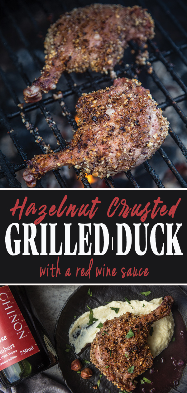 Hazelnut Crusted Grilled Duck with a Red Wine Sauce