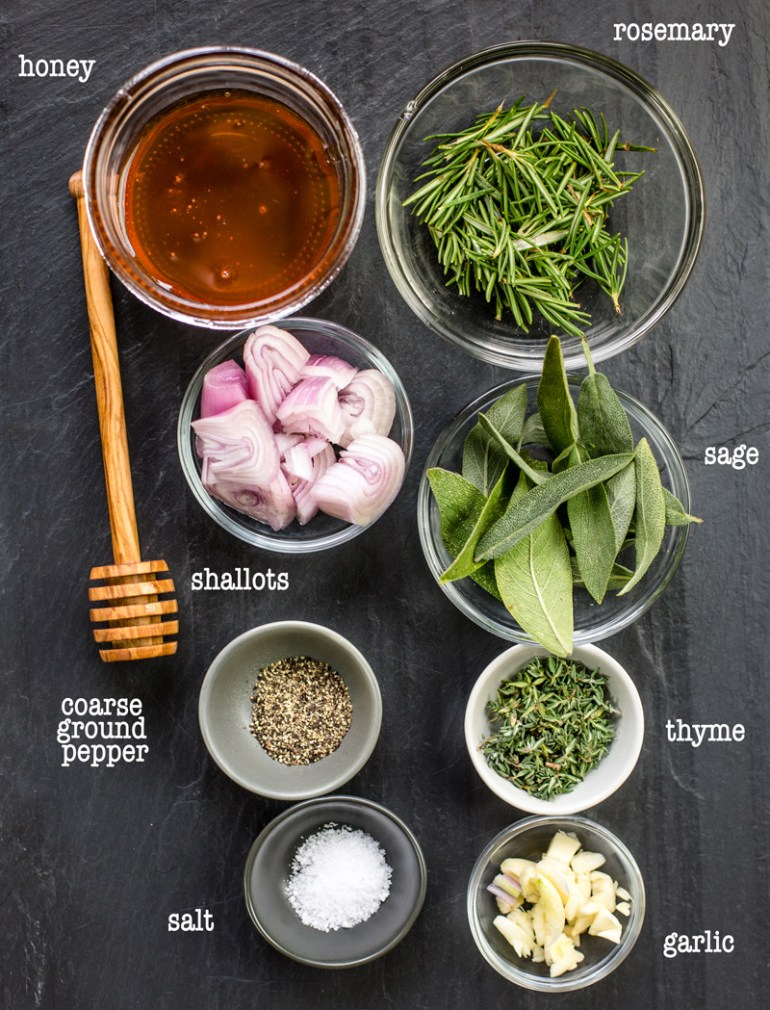 Ingredients for herb paste for grilled lamb