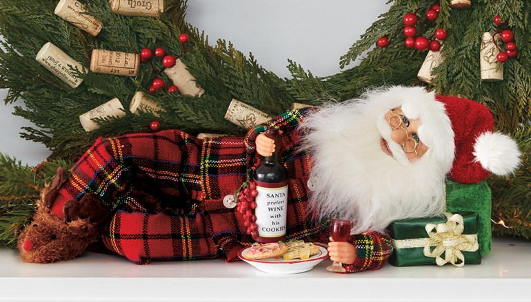 Santa Collectible with Wine & Cookies