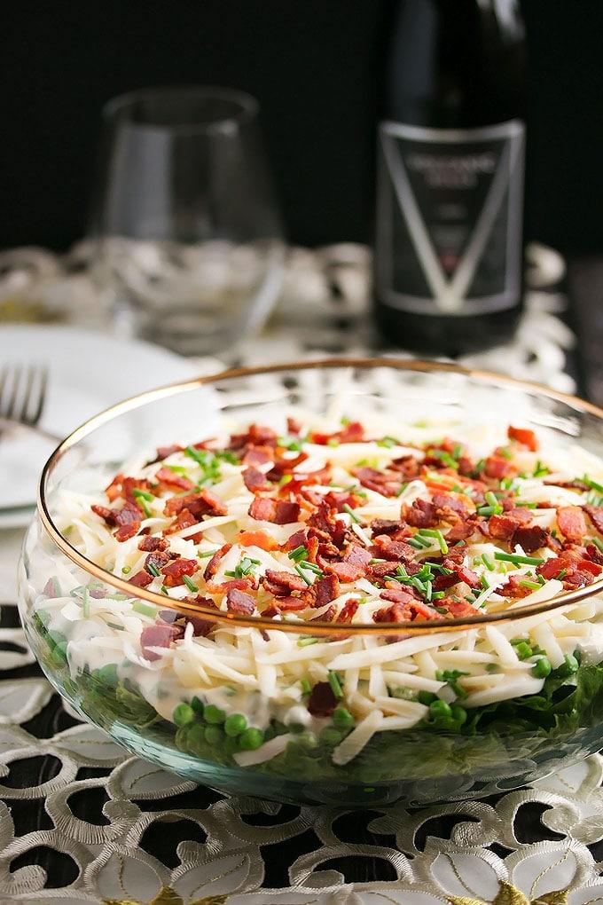 a bowl full of layered salad