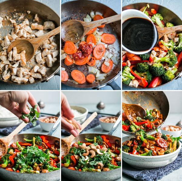 6 process shots showing how to make cashew chicken stir fry