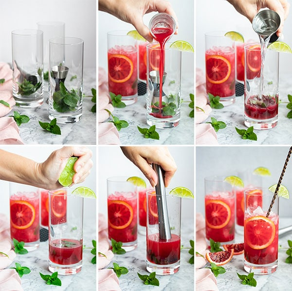 pictures showing the process of making a blood orange mojito