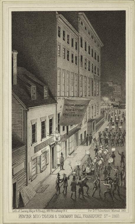 Pewter Mug Tavern & Tammany Hall, Frankfort Street, 1860