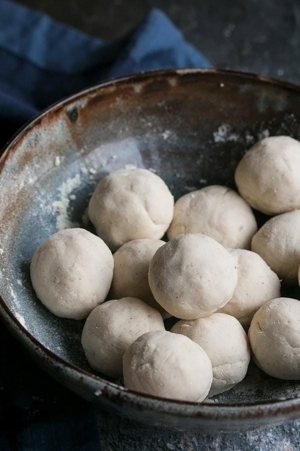 little balls of dough ready to make homemade tortillas