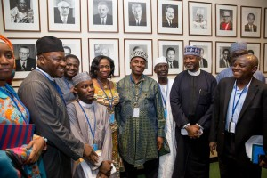 Amaechi (middle) with some of Buhari's delegation at the UN