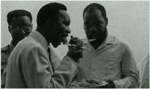 Gowon and Biafran leader Ojukwu eating together during a peace conference in Ghana that failed to prevent the civil war