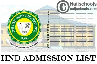The Oke-Ogun Polytechnic Saki (TOPS) 1st, 2nd, 3rd, 4th & 5th Batch HND Full-Time Admission List for 2020/2021 Academic Session   CHECK NOW