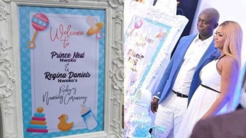 Video from the naming ceremony of Regina Daniels' son pops up