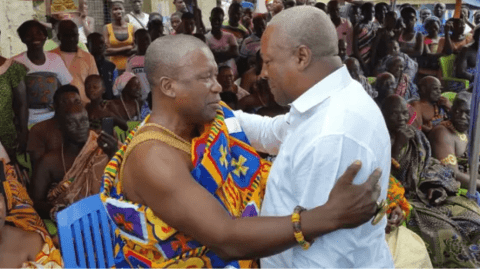 Don't Visit Us At Night Again – Omanhene At NPP Stronghold Tells John Mahama In The Face