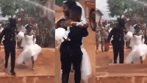 Beautiful Ghanaian Fire Service Wedding Goes Viral As Couple Get 'Flooded' With Water By His Team (Video)