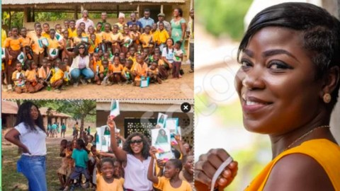 Afia Pokua donates learning materials to children in Village as school re-opens – Photos