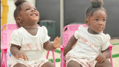 Check cute 15 photos of Nana Akua Nhyira in the classroom playing with her mates – Photos
